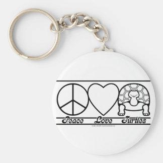 Amor y tortugas de la paz llavero redondo tipo pin