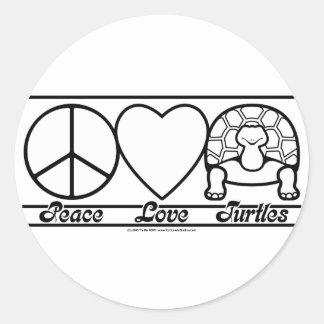 Amor y tortugas de la paz pegatina redonda