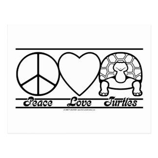 Amor y tortugas de la paz tarjeta postal