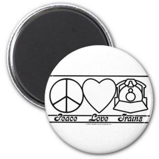 Amor y trenes de la paz imán redondo 5 cm