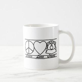 Amor y trenes de la paz tazas de café