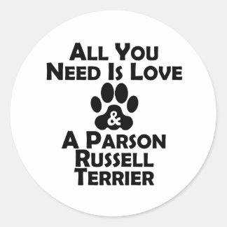 Amor y un párroco Russell Terrier Pegatina Redonda
