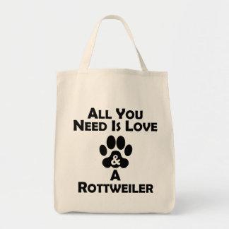 Amor y un Rottweiler Bolsa Tela Para La Compra