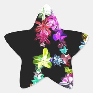 Amor y unidad de la paz pegatina en forma de estrella