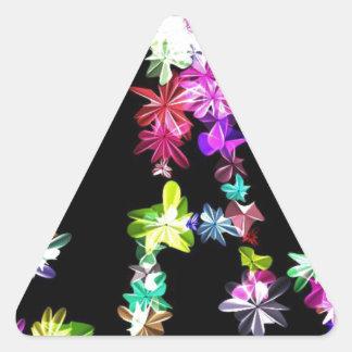 Amor y unidad de la paz pegatina triangular