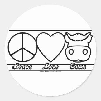 Amor y vacas de la paz etiquetas redondas