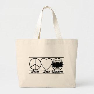 Amor y vampiros de la paz bolsa tela grande