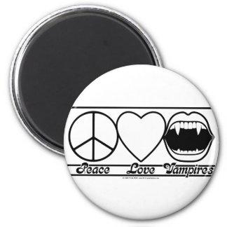 Amor y vampiros de la paz imán redondo 5 cm