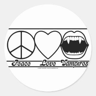 Amor y vampiros de la paz pegatina redonda