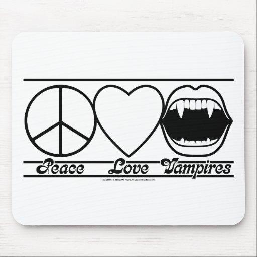 Amor y vampiros de la paz tapete de raton