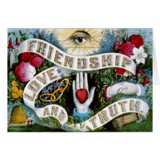 Amor y verdad de la amistad tarjeta de felicitación