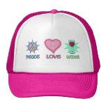 Amor y vino de la paz gorros