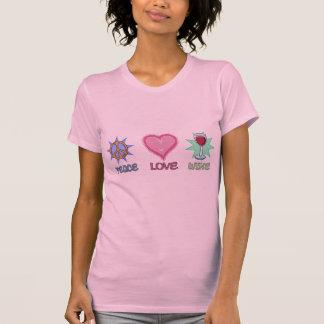 Amor y vino de la paz camiseta