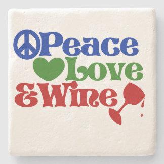 Amor y VINO de la paz Posavasos De Piedra