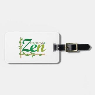 Amor y zen de la paz etiqueta para maleta