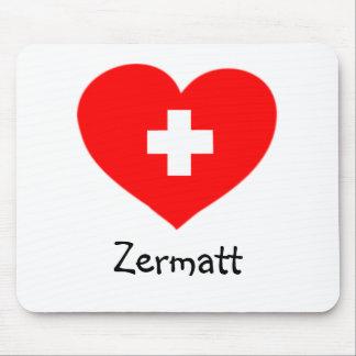Amor Zermatt - mousepad suizo del corazón Alfombrillas De Ratón