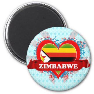 Amor Zimbabwe del vintage I Imán Redondo 5 Cm