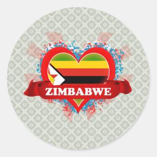Amor Zimbabwe del vintage I Pegatina Redonda