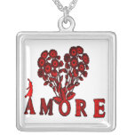 amore- Flowers Square Pendant Necklace