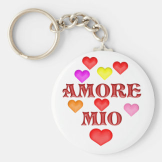 Amore million basic round button keychain