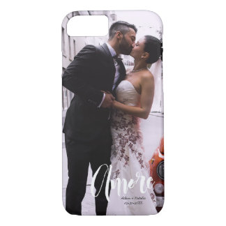 Amore, Modern Script • Custom Photo, Names & date iPhone 7 Case