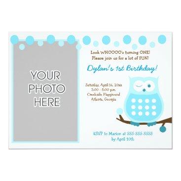 Amore Owl (Blue) Photo Birthday Invitation 5x7