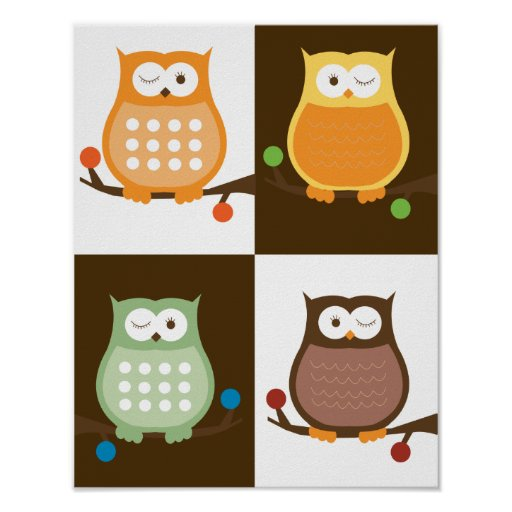 Amore Owls Pop Art Print 11 x 14
