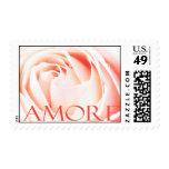 Amore - sellos italianos del rosa del rosa del amo