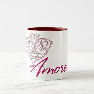 Amore with Scrolled Heart Design 1 Coffee/Tea Mug