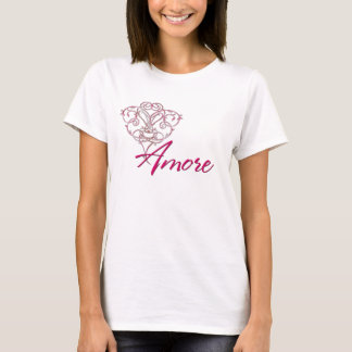 Amore with Scrolled Heart Design 1 - T-Shirt