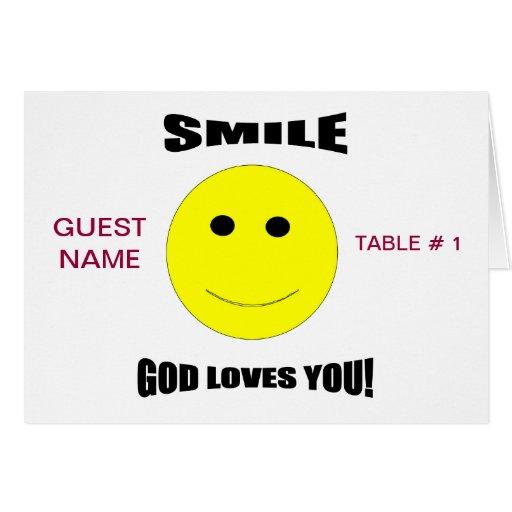 Amores de dios de la sonrisa usted tarjeta de la t