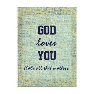 Amores de dios que usted cita impresiones en lona estiradas