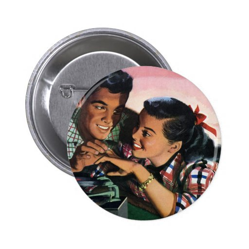 Amores de High School secundaria del vintage, Pin Redondo De 2 Pulgadas