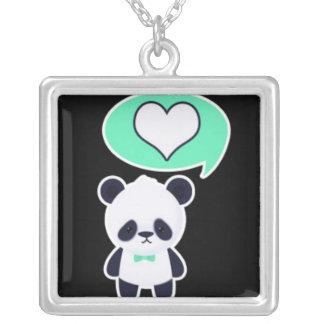 Amores de la panda colgante cuadrado
