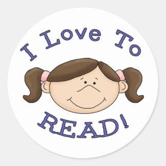 Amores del chica a leer etiqueta redonda