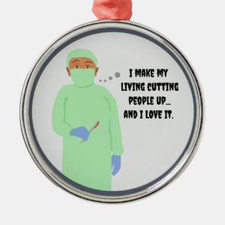 Amores del cirujano para cortar a gente adorno navideño redondo de metal