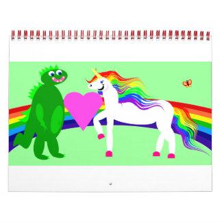 Amores del dinosaurio del unicornio que usted hace calendarios