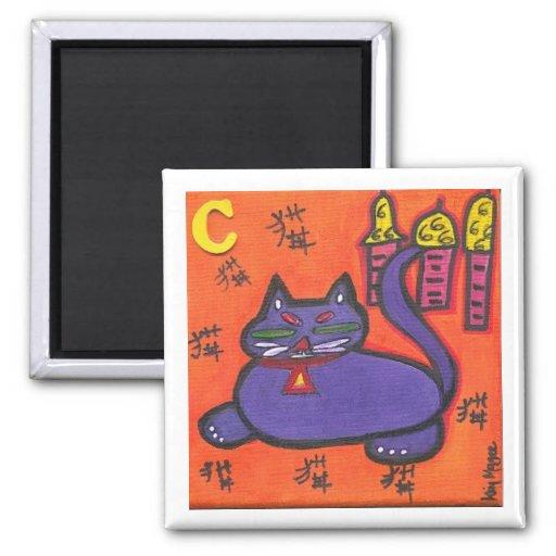 amores del gato de China a nap imán