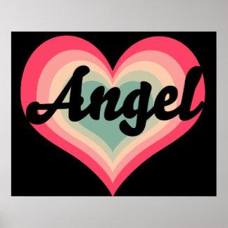 Amores del nombre del animal de compañía del ángel póster