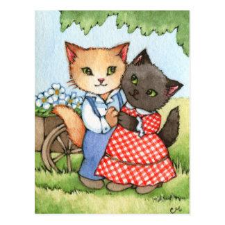 Amores del país - arte lindo de los pares del gato tarjeta postal