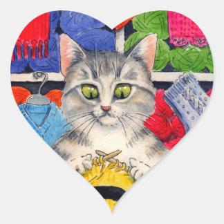 Amores lindos del gato para hacer punto a los pegatina en forma de corazón