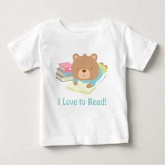 Amores lindos del oso de peluche a leer para los playera de bebé