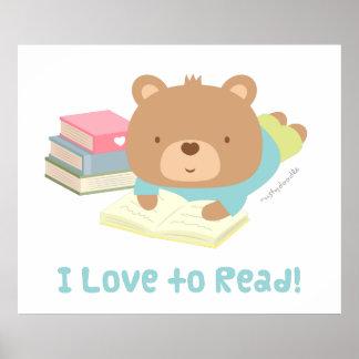 Amores lindos del oso de peluche a leer para los póster