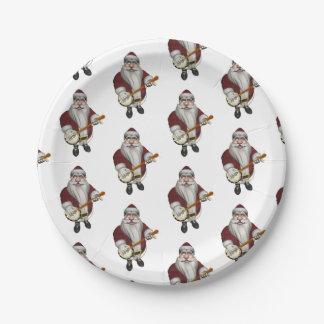 Amores musicales de Papá Noel para tocar el banjo Plato De Papel 17,78 Cm