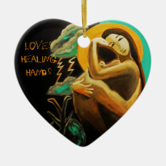 Amores que curan el recuerdo del arte y del poema adorno navideño de cerámica en forma de corazón