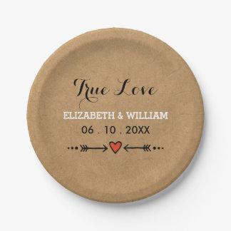 Amores rosados y amor verdadero del boda rústico plato de papel 17,78 cm