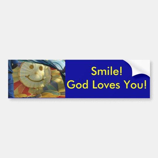 ¡Amores sonrientes de dios de la cara del globo us Pegatina De Parachoque