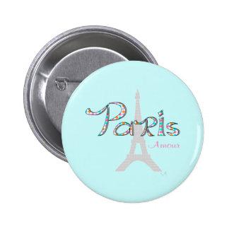 Amorío de PARÍS con la torre Eiffel Pin Redondo De 2 Pulgadas