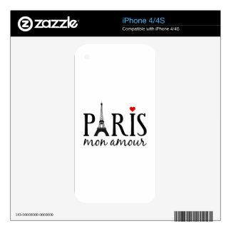 Amorío de París lunes con la torre Eiffel iPhone 4S Calcomanías