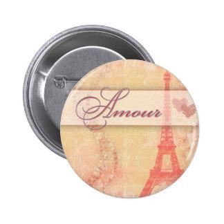 Amorío en París Pin Redondo De 2 Pulgadas